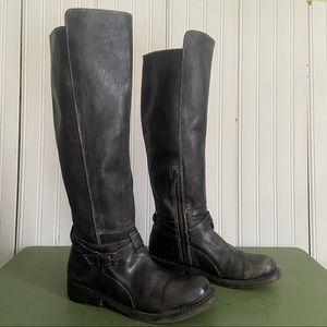 Bed Stu Cobbler Series Rustic Black Knee Boots